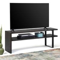 WYNDENHALL Franz Solid Acacia Wood and Metal 60 inch wide Modern TV Media Stand in Distressed Dark Brown For TVs up to 65 inches