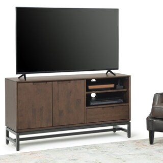 """Carbon Loft Cardille Solid Hardwood Industrial TV Media Stand in Walnut Brown - 54""""w x 16.5""""d x 29"""" h"""
