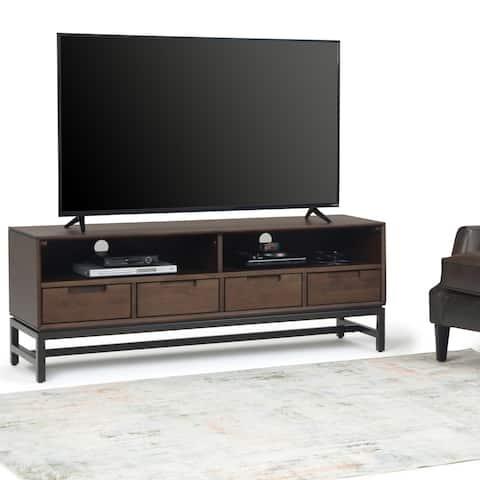 "Carbon Loft Cardille Solid Hardwood TV Media Stand in Walnut Brown - 60""w x 16.5""d x 22"" h"