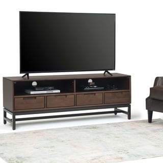 Carbon Loft Cardille Solid Hardwood TV Media Stand in Walnut Brown