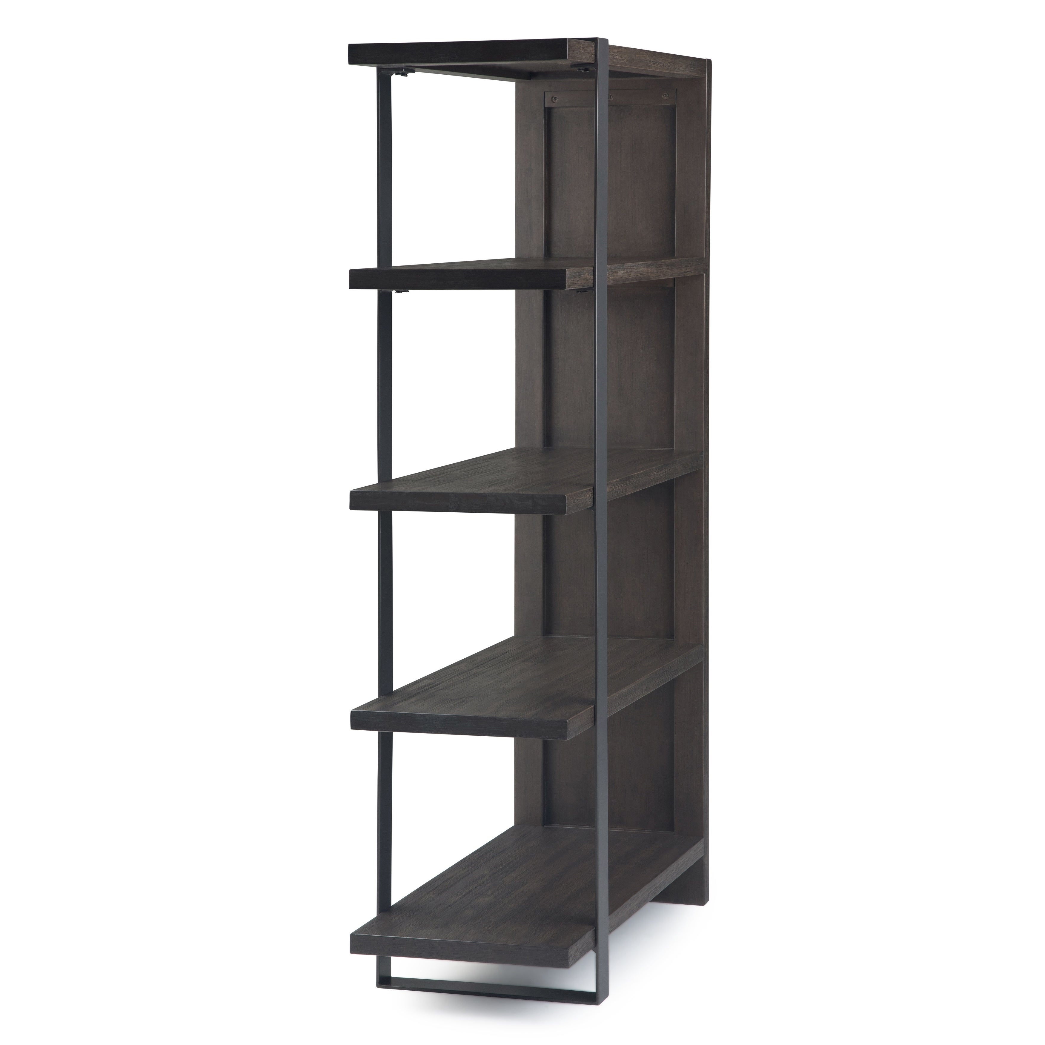 Carbon Loft Costa Industrial Bookcase In Distressed Dark Brown 36 W X 16 D X 66 H