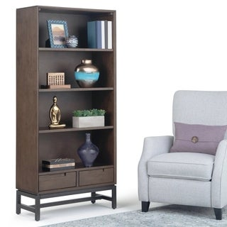 "Carson Carrington Kannan Solid Hardwood and Metal Modern Industrial Bookcase - 30""w x 14""d x 66"" h"
