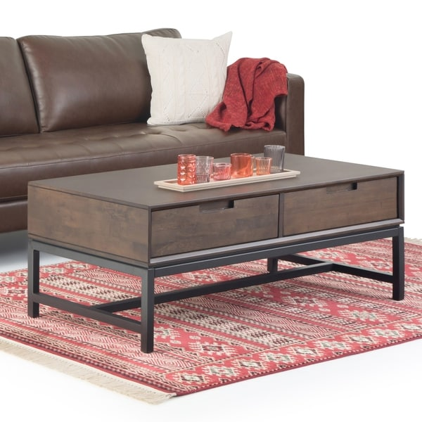 WYNDENHALL Devlin Solid Hardwood and Metal 48 inch Wide Rectangle Modern Industrial Coffee Table in Walnut Brown