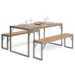 WYNDENHALL Talbot Solid Elm Wood and Metal 63 inchWide Modern Industrial 3 Pc Dining Set in Natural