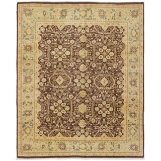 ECARPETGALLERY  Hand-knotted Chobi Twisted Dark Brown Wool Rug - 8'0 x 9'10
