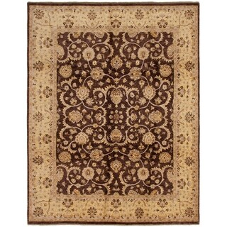 ECARPETGALLERY  Hand-knotted Chobi Twisted Dark Brown Wool Rug - 8'1 x 10'5