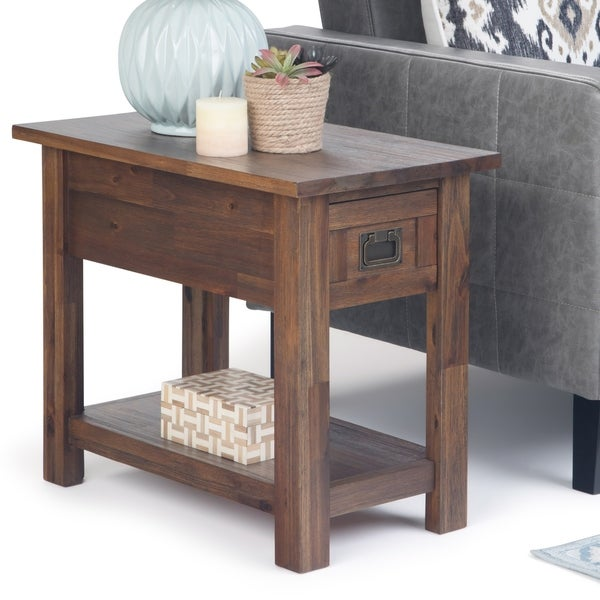 """WYNDENHALL Garret Solid Acacia Wood 14 inch Wide Rectangle Rustic Contemporary Narrow Side Table - 14"""" W x 24"""" D x 20"""" H"""