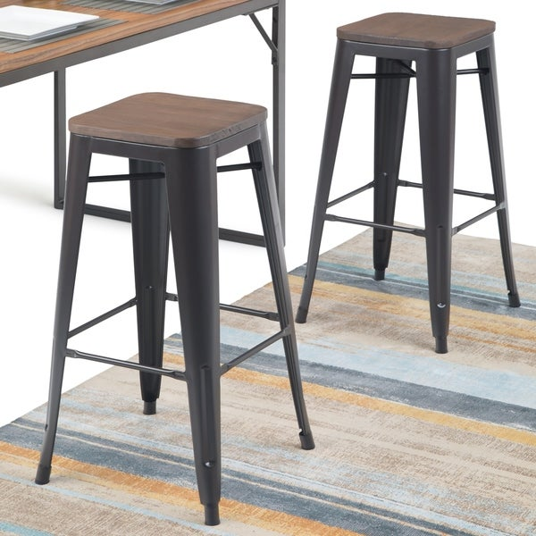 Shop Wyndenhall Hartley 30 Inch Metal Bar Stool With Wood Seat Set