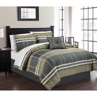 Manhattan Heights Geo Plaid Jacquard High-Quality Cotton 8 Piece Bed in a Bag