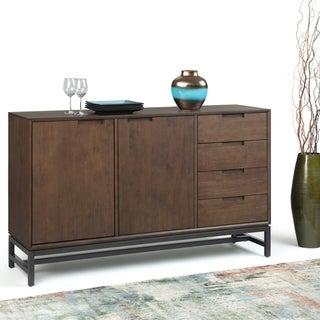 WYNDENHALL Devlin Solid Hardwood and Metal 60 inchWide  Modern Industrial Sideboard with Side Drawers in Walnut Brown