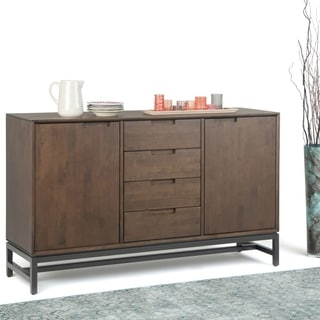 WYNDENHALL Devlin Solid Hardwood and Metal 60 inchWide  Modern Industrial Sideboard with Centre Drawers in Walnut Brown