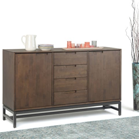 WYNDENHALL Devlin Solid Hardwood and Metal 60 inch Wide Modern Industrial Sideboard with Centre Drawers in Walnut Brown