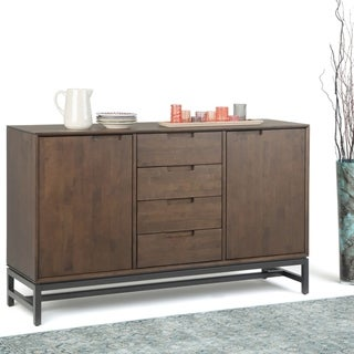 Link to WYNDENHALL Devlin Solid Hardwood and Metal 60 inch Wide Modern Industrial Sideboard with Centre Drawers in Walnut Brown Similar Items in Dining Room & Bar Furniture