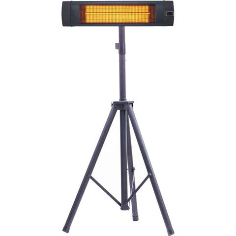 "Hanover 34.6"" Wide Electric Carbon Infrared Heat Lamp with Remote Control and Tripod Stand, Black"