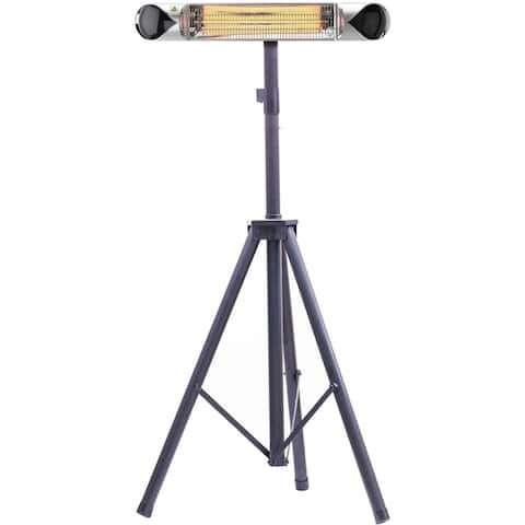 """Hanover 35.4"""" Wide Electric Carbon Infrared Heat Lamp with Remote Control and Tripod Stand, Silver/Black"""