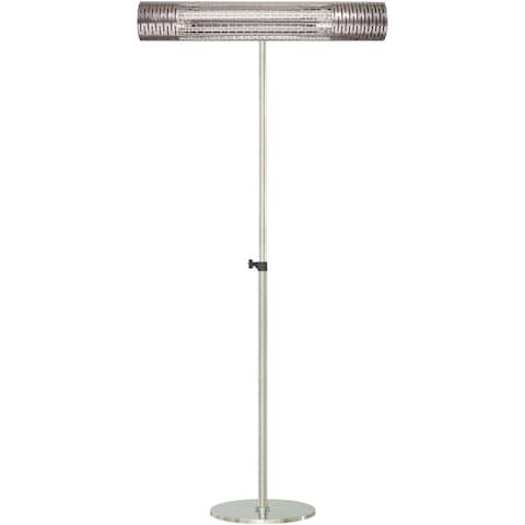 """Hanover 30.7"""" Wide Electric Carbon Infrared Heat Lamp with Remote Control and Adjustable Pole Stand, Silver"""