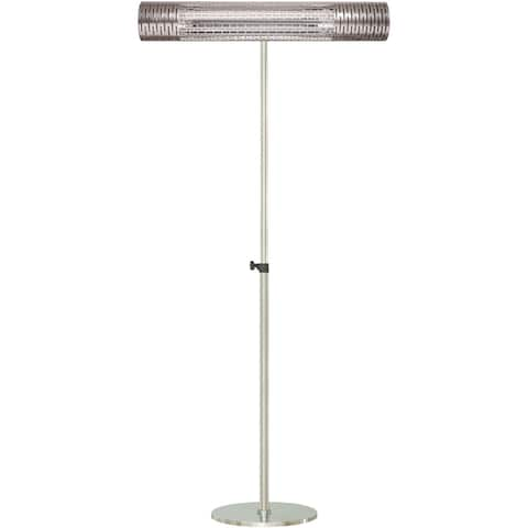 "Hanover 30.7"" Wide Electric Carbon Infrared Heat Lamp with Remote Control and Adjustable Pole Stand, Silver"