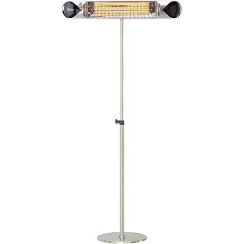 """Hanover 35.4"""" Wide Electric Carbon Infrared Heat Lamp with Remote Control and Adjustable Pole Stand, Silver"""