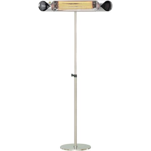 "Hanover 35.4"" Wide Electric Carbon Infrared Heat Lamp with Remote Control and Adjustable Pole Stand, Silver"