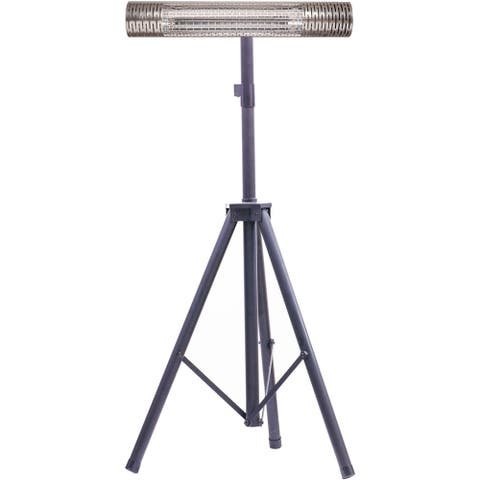 "Hanover 30.7"" Wide Electric Carbon Infrared Heat Lamp with Remote Control and Tripod Stand, Silver/Black"