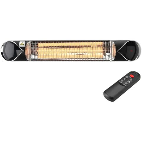 "Hanover 35.4"" Wide Electric Carbon Infrared Heat Lamp with Remote Control, Black"
