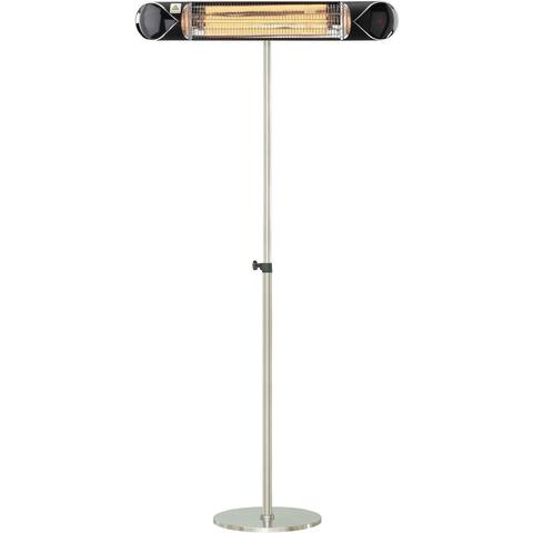 """Hanover 35.4"""" Wide Electric Carbon Infrared Heat Lamp with Remote Control and Adjustable Pole Stand, Black/Silver"""
