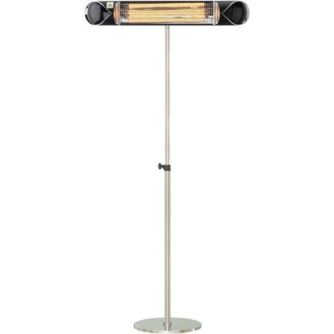 "Hanover 35.4"" Wide Electric Carbon Infrared Heat Lamp with Remote Control and Adjustable Pole Stand, Black/Silver"