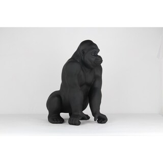 Unique Décor- Matt Black Gorilla Sculpture