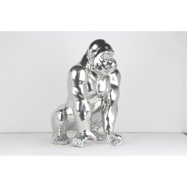 Unique Décor- Chrome Gorilla Sculpture