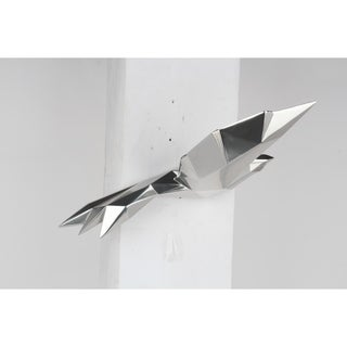 Modern Wall Décor- Soaring Bird With Geometric Pattern- Chrome