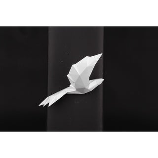 Modern Wall Décor- Soaring Bird With Geometric Pattern- Pearl White