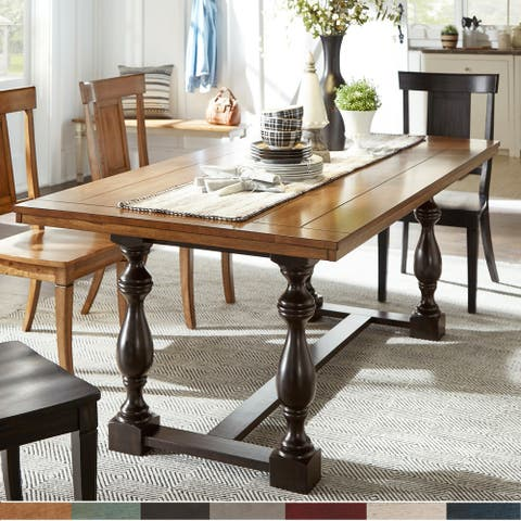 Eleanor 78-inch Oak Dining Table with Turned Leg Trestle Base by iNSPIRE Q Classic
