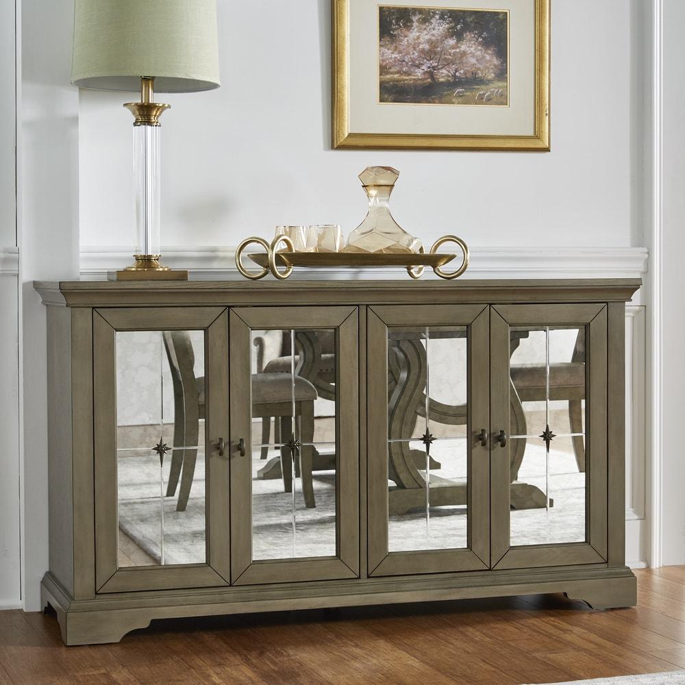 iNSPIRE Q Maizy Antique Mirrored Door Serverr by  Artisan (Server - Grey)
