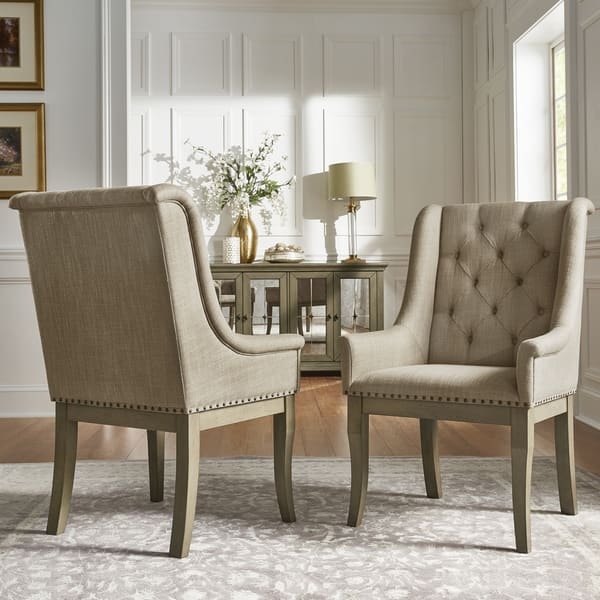 Shop Maizy Beige Tufted Nailhead Dining Chair (Set of 2) by ...