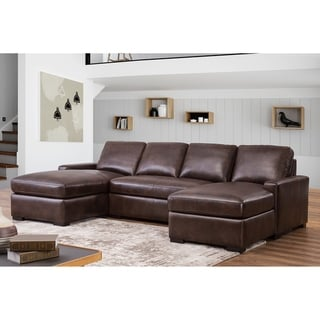 Abbyson Berlin Brown Leather Sectional