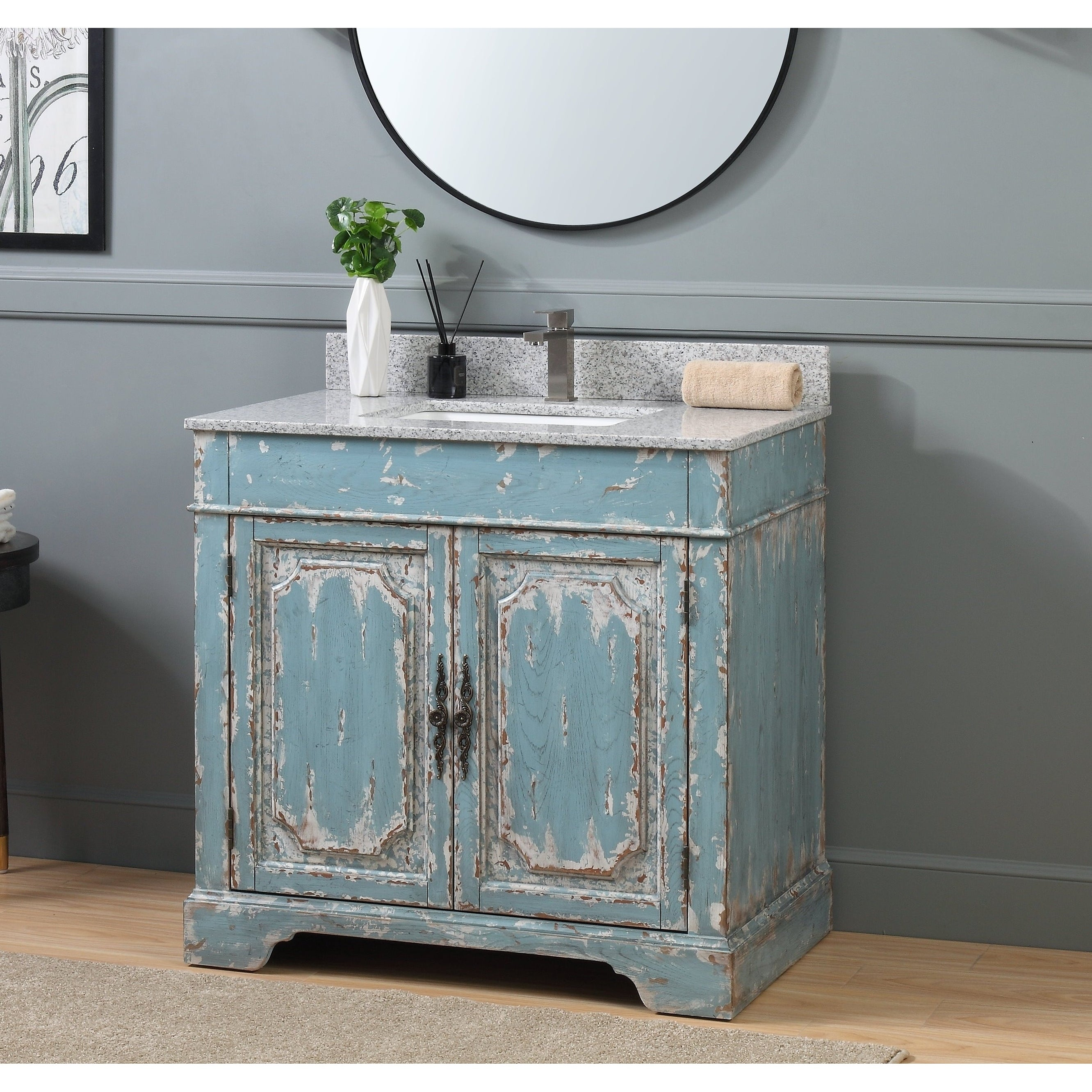 36 Benton Collection Litchfield Rustic Light Blue Bathroom Vanity On Sale Overstock 25982904