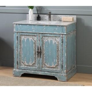 "36"" Benton Collection Litchfield Rustic Light Blue Bathroom Vanity"