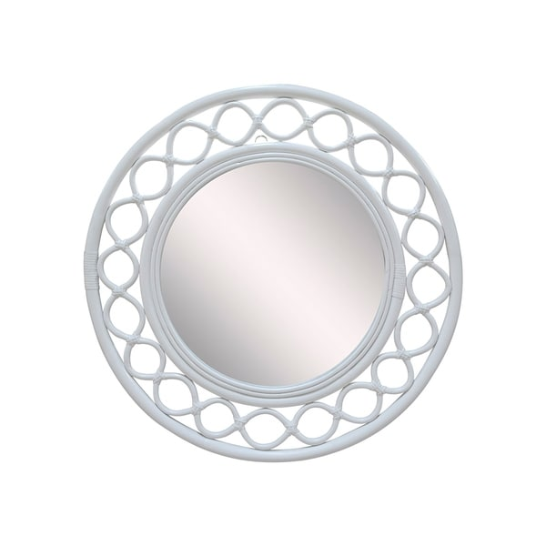 East At Main's Mae Rattan Round Mirror - White