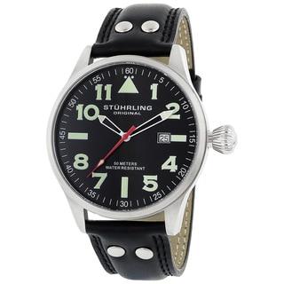 Stuhrling Original 'Eagle' Men's Black/Green Pilot Swiss Quartz Watch