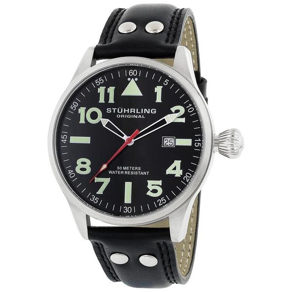 Shop Stuhrling Original  Eagle  Men s Black Green Pilot Swiss Quartz ... 44242093590