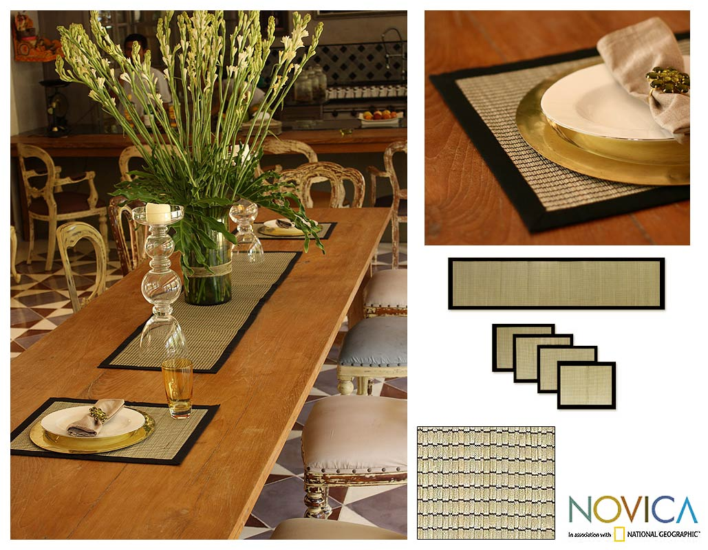 Handmade Cotton 'Gray Weaves' Mendong 5-piece Table Setting (Indonesia)