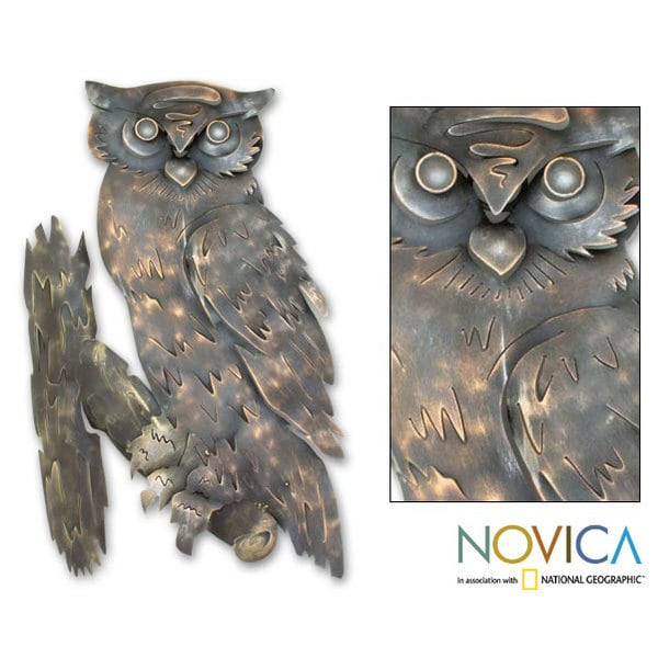 Curious Owl' Iron Wall Adornment, Handmade in  , Handmade in Mexico