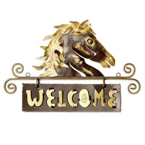 Golden Horse Welcome Sign Outdoor Living Horse Garden or Patio Rustic Decor Metal Art