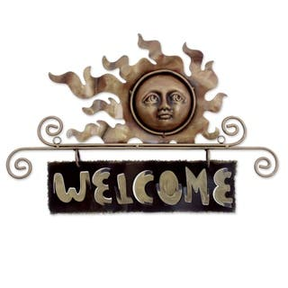 Handmade Peaceful Welcome Iron Welcome Sign (Mexico)|https://ak1.ostkcdn.com/images/products/2598583/P10809046.jpg?impolicy=medium