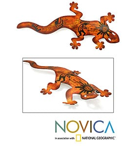 Cave Art Gecko Indoor Outdoor Garden Patio Brown and Orange Lizard Rustic Decor Accent Animal Metal Wall Art Sculpture (Mexico)