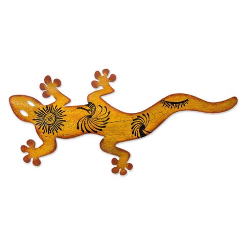 Cave Art Gecko Patio Brown and Orange Rustic Decor Metal Wall Art (Mexico)