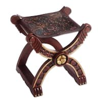 Unique Baroque Peru Richly Carved Claw Foot Brown Hand Tooled Leather and Wood Decorator Accent Stoo