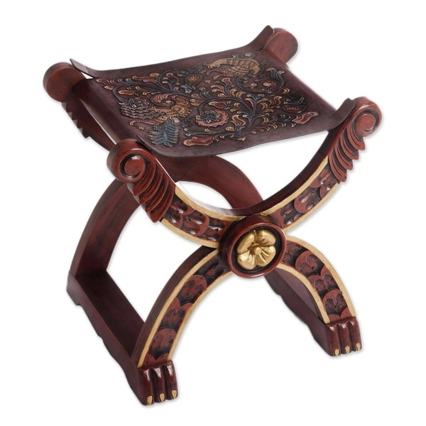 Handmade Baroque Claw Foot Leather and Wood Accent Stool (Peru). Opens flyout.