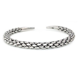 Handmade Contrasting Oxidized/ Polished Sterling Silver Pinecone Pattern Modern Bangle Cuff Bracelet (Thailand)