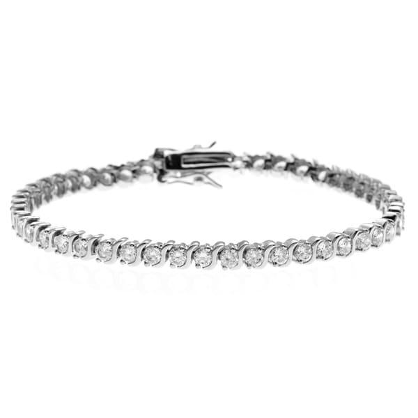 Simon Frank 14k White Gold Overlay 4 5/8ct TGW Tennis Cubic Zirconia Bracelet